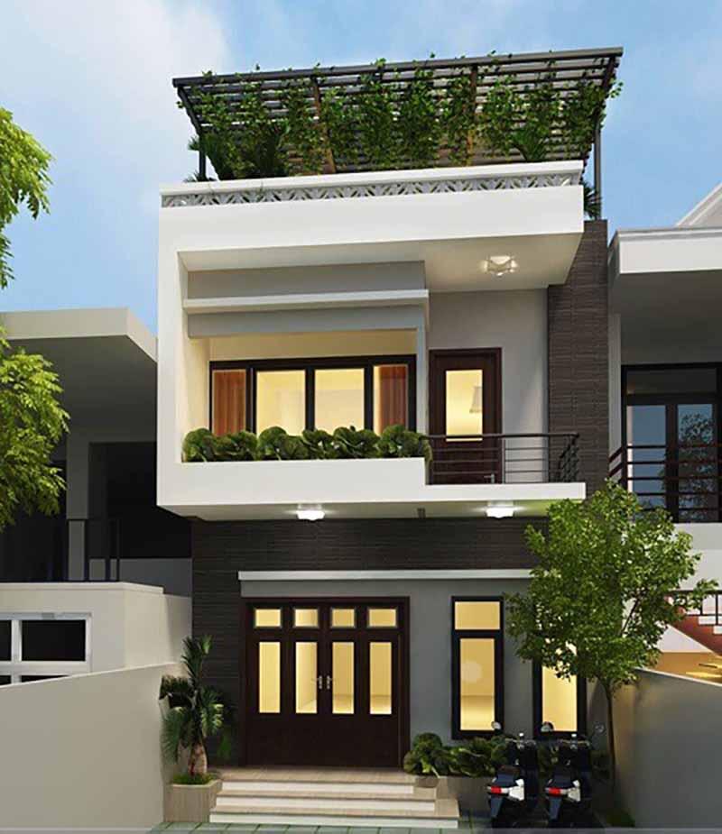 Mẫu thiết kế nhà phố hiện đại 2 tầng 1 tum