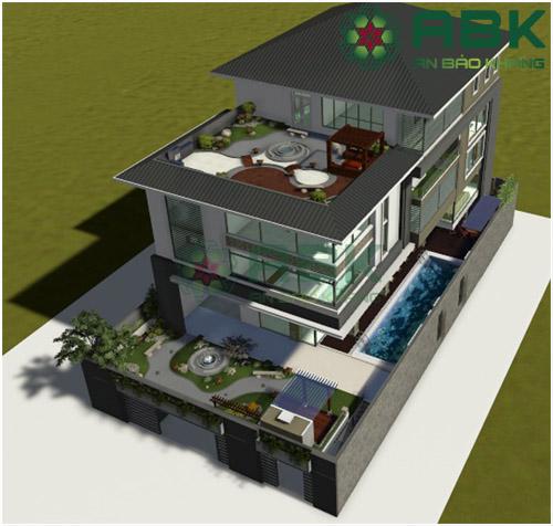 Mẫu thiết kế nhà biệt thự 3 tầng rưỡi sang trọng M15