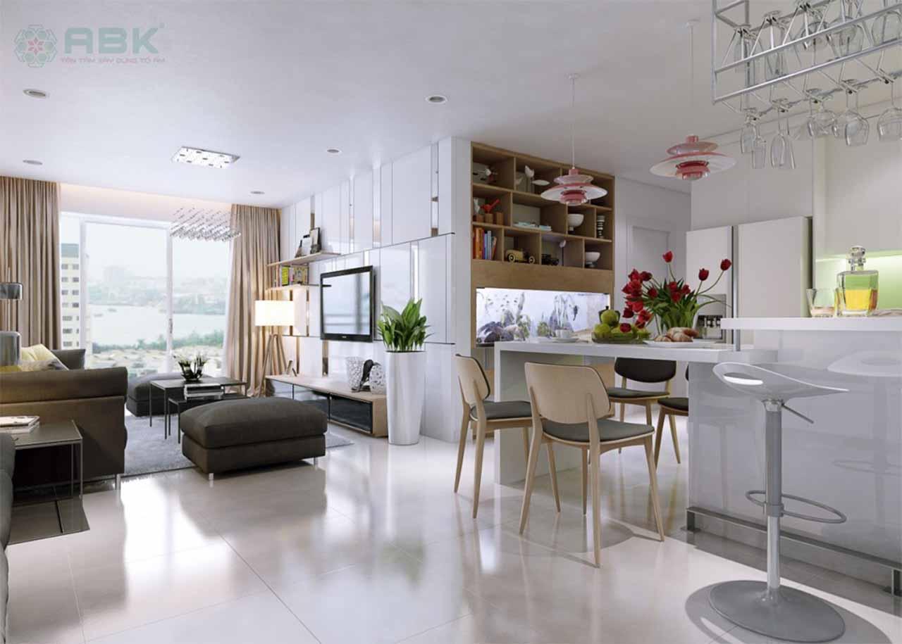 Không gian phòng bếp mở thông với phòng khách và phòng ăn là xu hướng thiết kế nội thất hiện nay