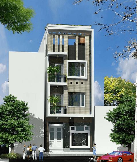 Mẫu thiết kế nhà phố 2 mặt tiền phía trước và phía sau