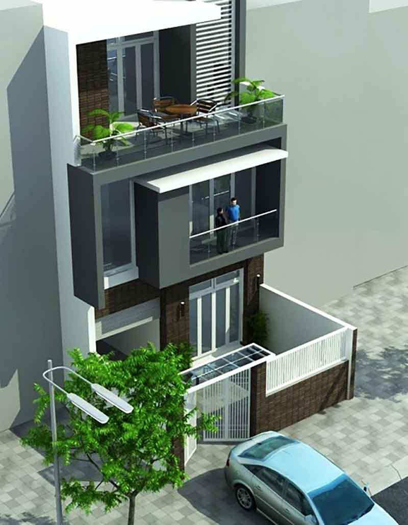 Thiết kế nhà phố có chiều rộng 7m