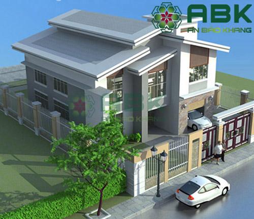 Mẫu thiết kế nhà biệt thự 2 tầng mái lệch hiện đại M13