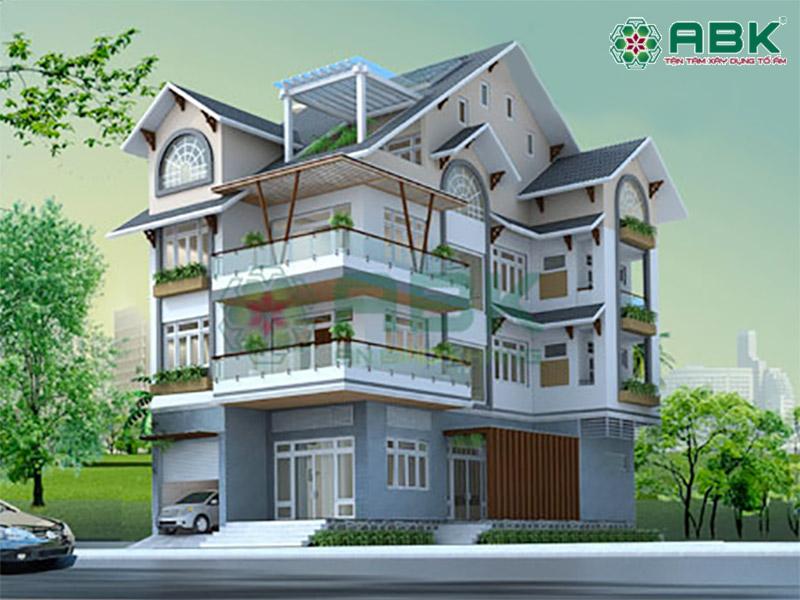 Thiết kế biệt thự 4 tầng hiện đại nhà anh Dinh quận 9