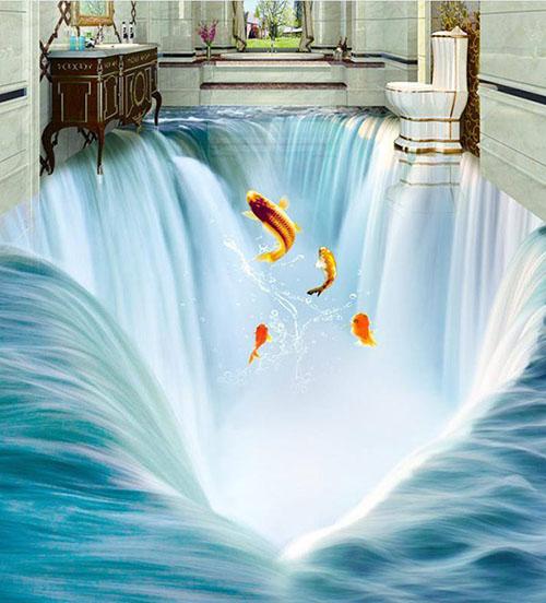 Không gian nhà tắm tuyệt đẹp với gạch ốp lát 3D