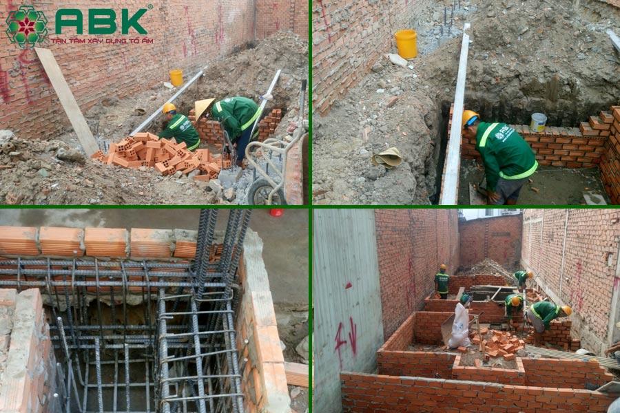 Công tác ép cọc, đào móng, thi công phần móng nhà chị Thủy tại Quận 9
