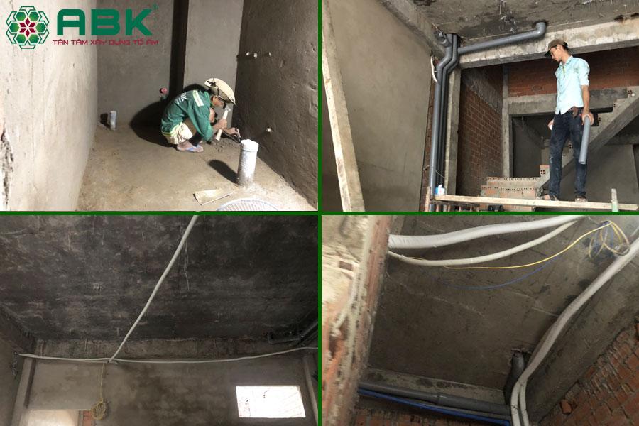 Công tác lắp đặt hệ thống điện nước nhà chị Thủy tại Quận 9