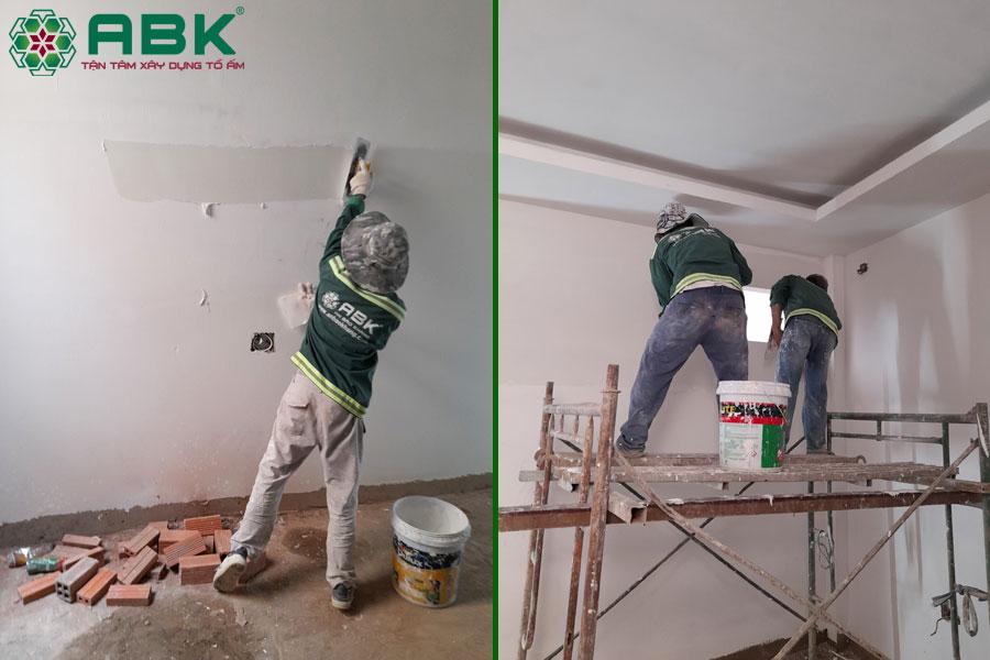 Công tác sơn tường nhà chị Thủy tại Quận 9