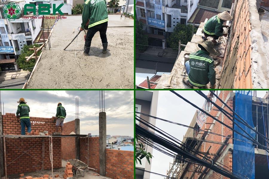 Công tác thi công xây sân thượng nhà chị Thủy tại Quận 9