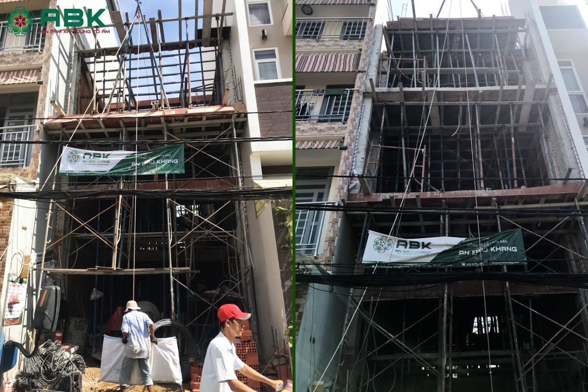 Thi công xây nhà anh Á 3 tầng 1 sân thượng Quận Bình Tân