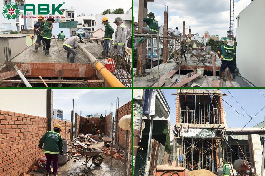 Công tác thi công xây tầng 1 nhà chị Thủy tại Quận 9