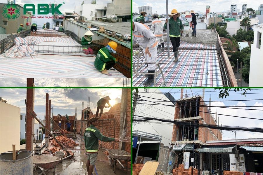 Công tác thi công xây tầng 3 nhà chị Thủy tại Quận 9