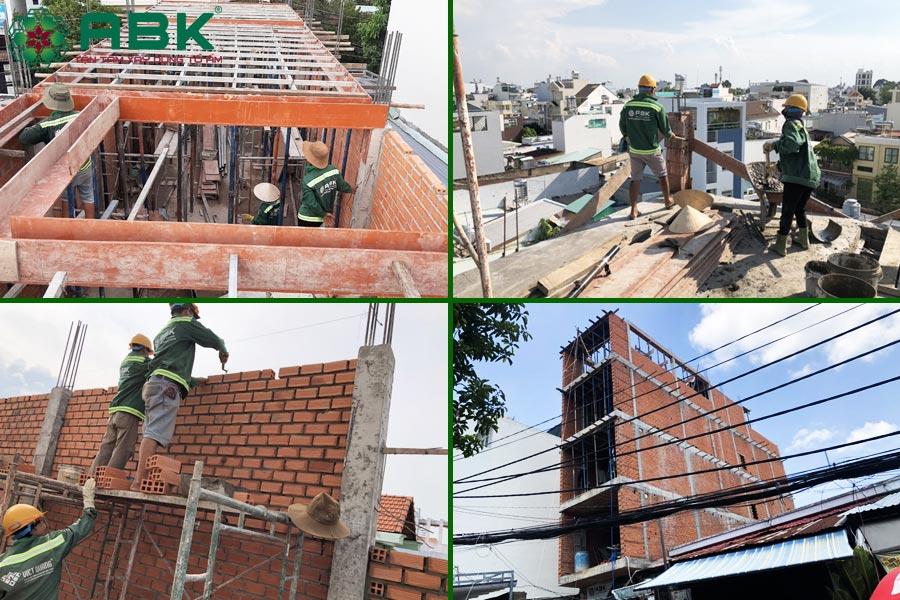 Công tác thi công xây tầng 4 nhà chị Thủy tại Quận 9