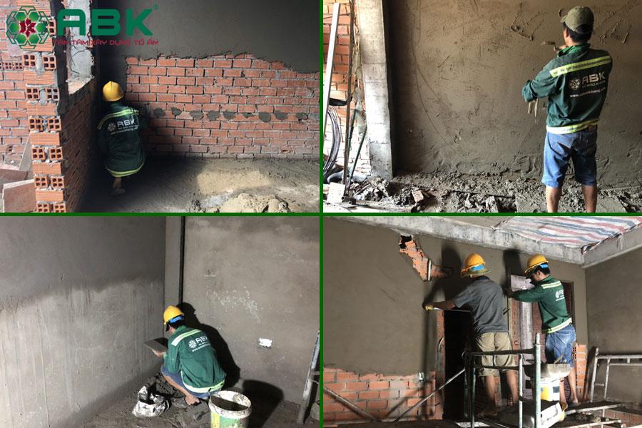 Công tác xây tô tường nhà chị Thủy tại Quận 9