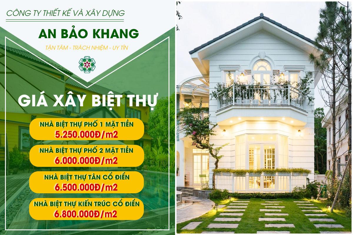 Đon giá xây nhà biệt thự trọn gói