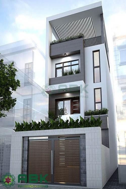Mẫu thiết kế nhà phố 3 tầng rưỡi ngang 4m dài 15m theo phong cách hiện đại