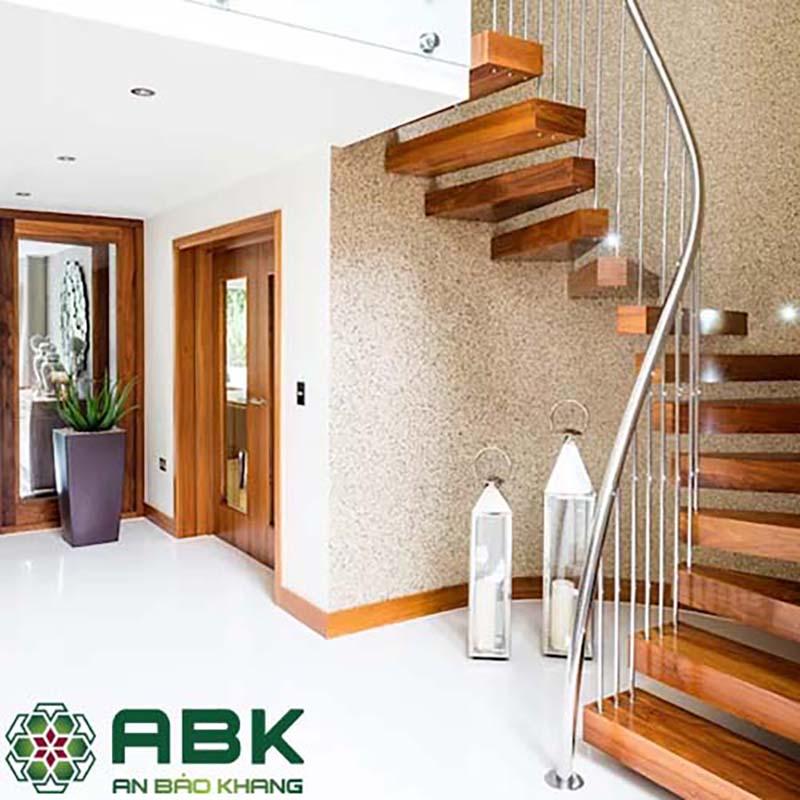 Cầu thang Gỗ tự nhiên khung inox cao cấp