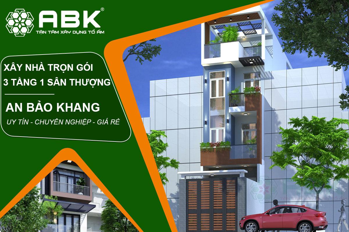 Thiết kế và xây dựng nhà phố trọn gói 3 tầng và 1 sân thượng tại TP.HCM