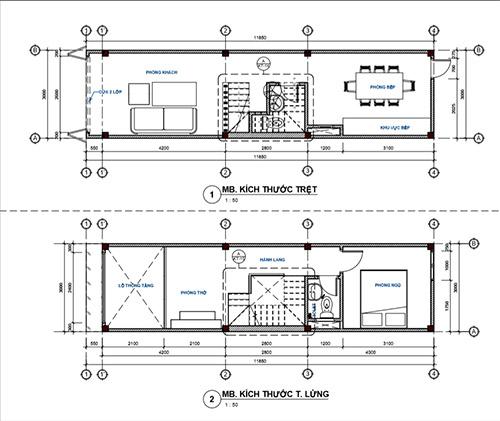Bản vẽ thiết kế kiến trúc nhà phố