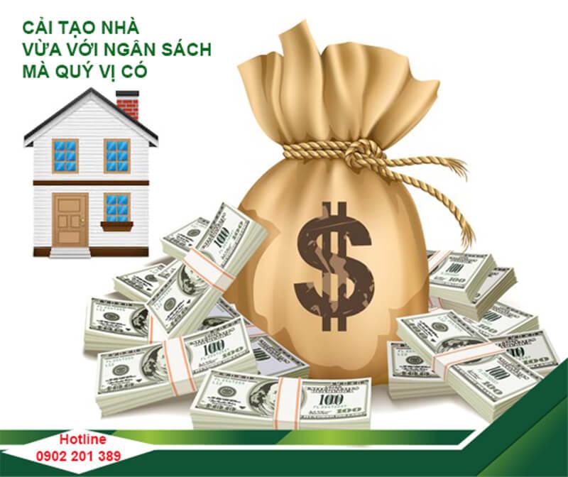 cải tạo nhà theo khoản chi phí dư trù.