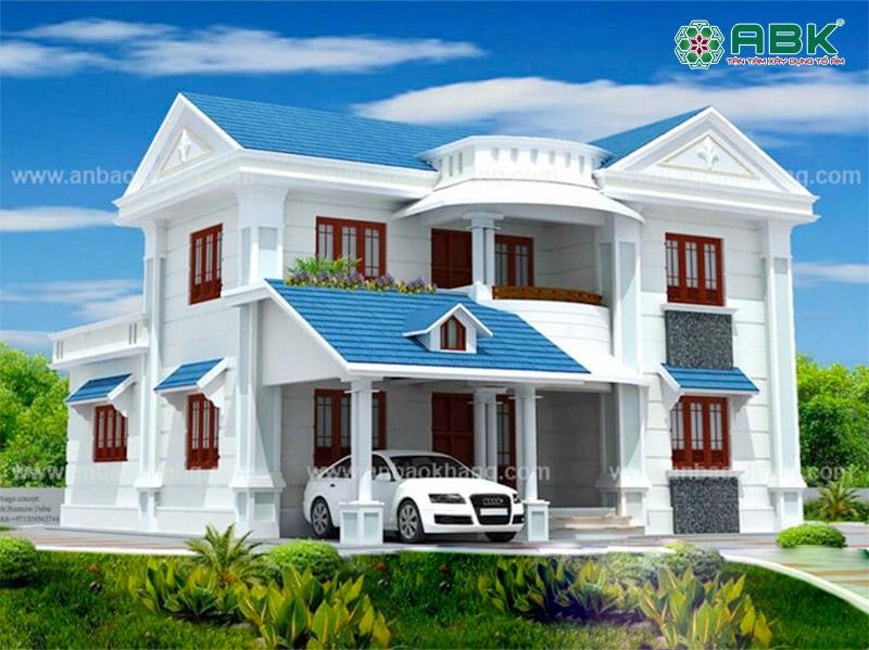 Mẫu thiết kế nhà biệt thự 2 tầng hiện đại mái ngói