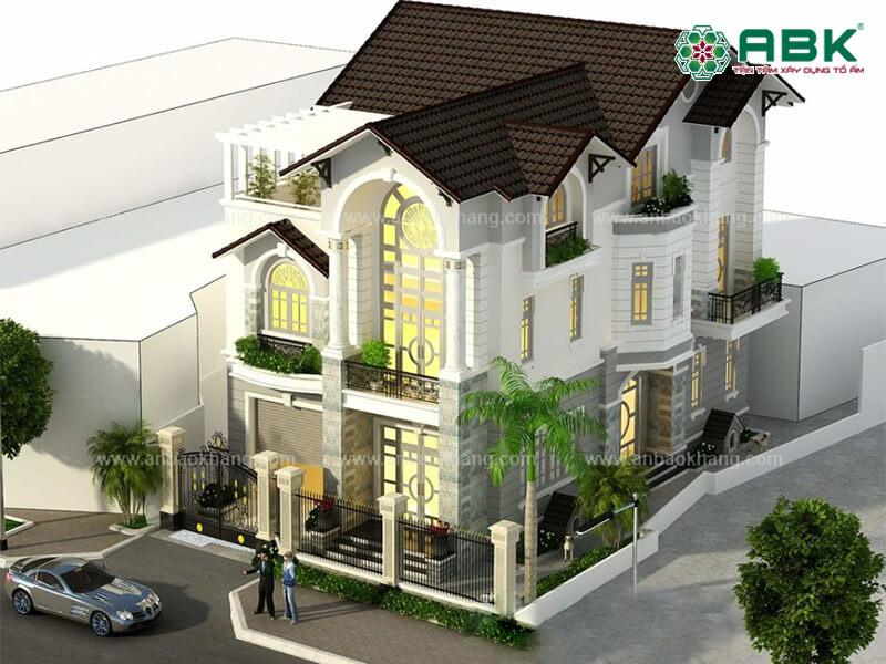Mẫu thiết kế nhà biệt thự 3 tầng kiến trúc bán cổ điển quận 7