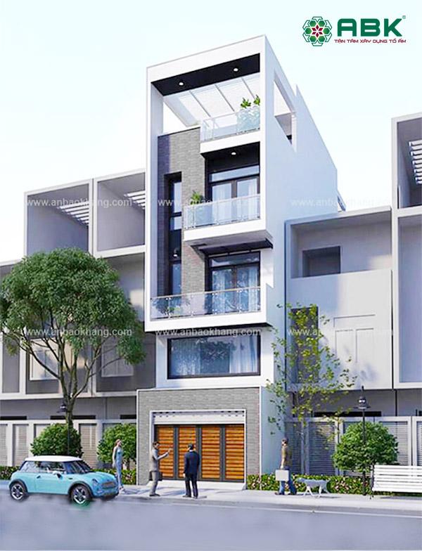 Mẫu thiết kế nhà phố 3 tầng 1 sân thượng đẹp tại huyện Hóc Môn – MS17