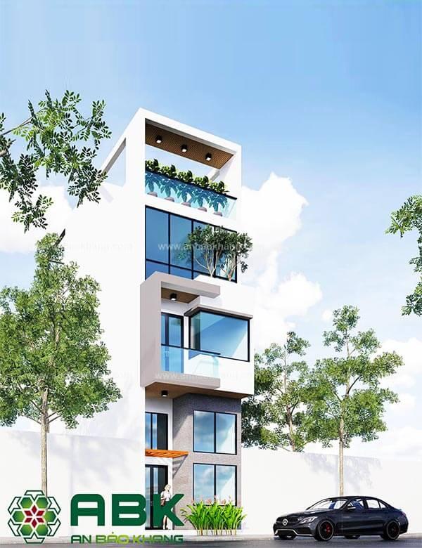 Mẫu thiết kế nhà phố 3 tầng 1 sân thượng đẹp M24 tại Quận Tân Bình