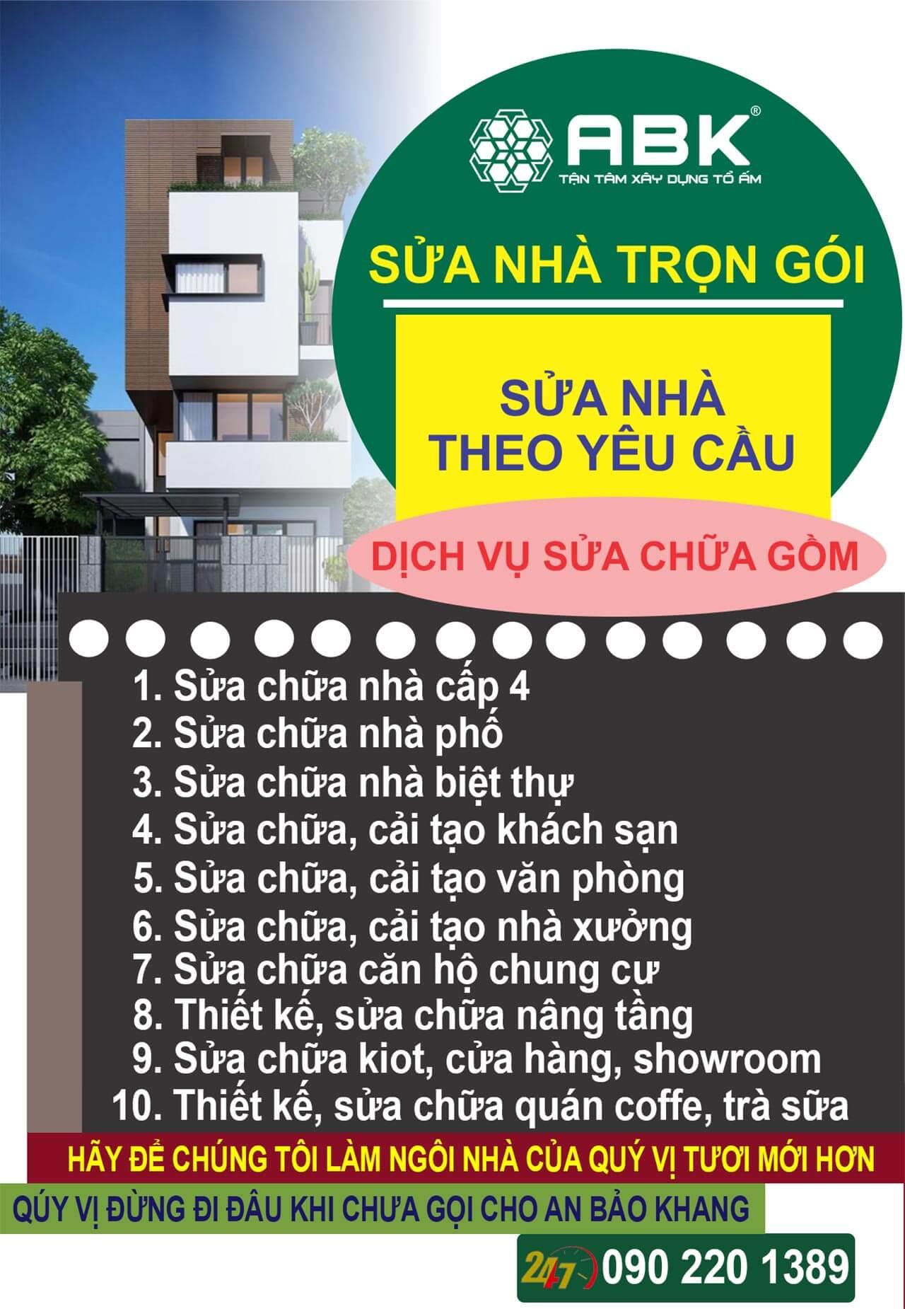 Dịch vụ sửa chữa nhà huyện Củ Chi