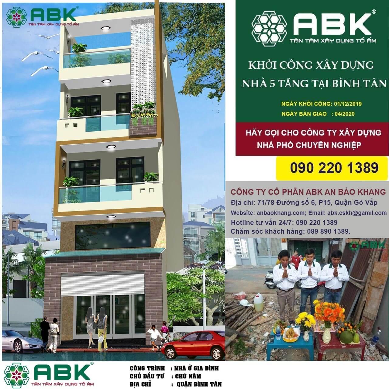 Khởi công động thổ công trình nhà Anh Á tại Bình Tân