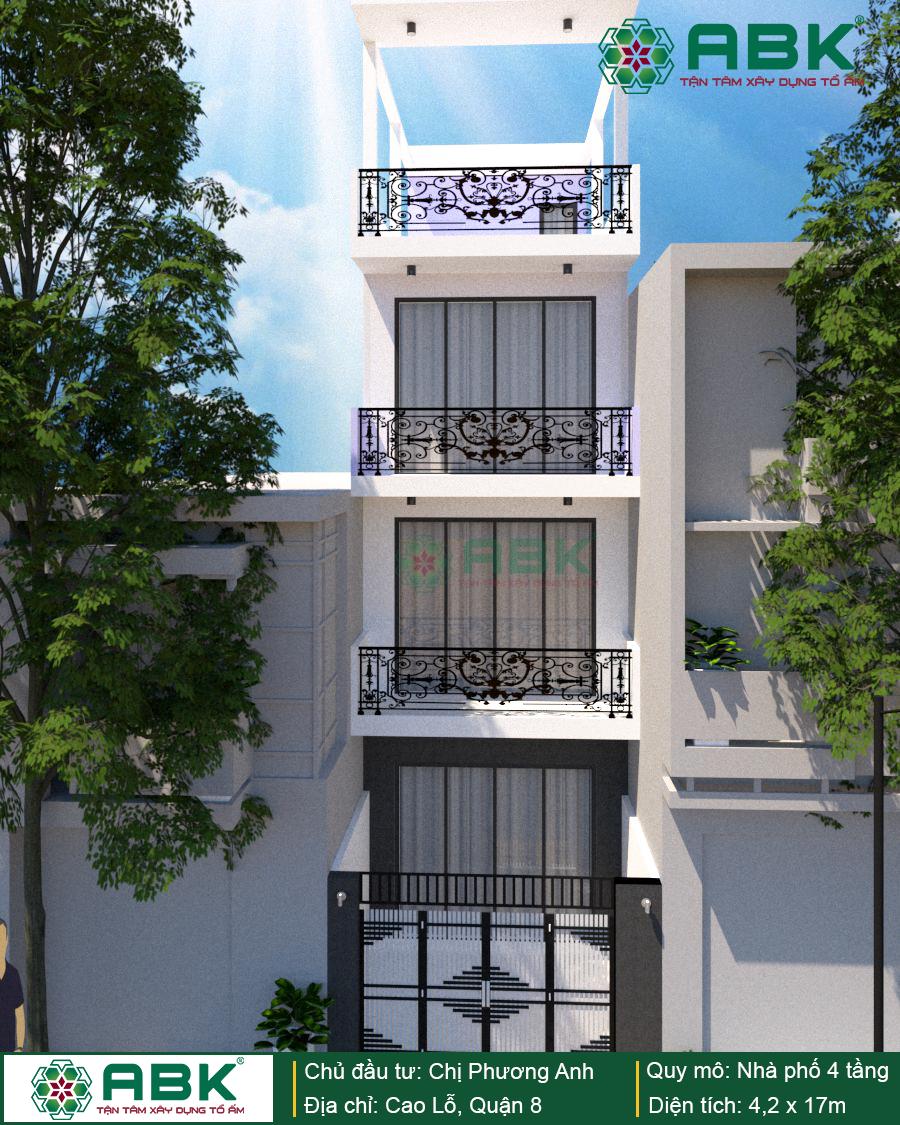 Xây dựng nhà 4 tầng tại quận 8
