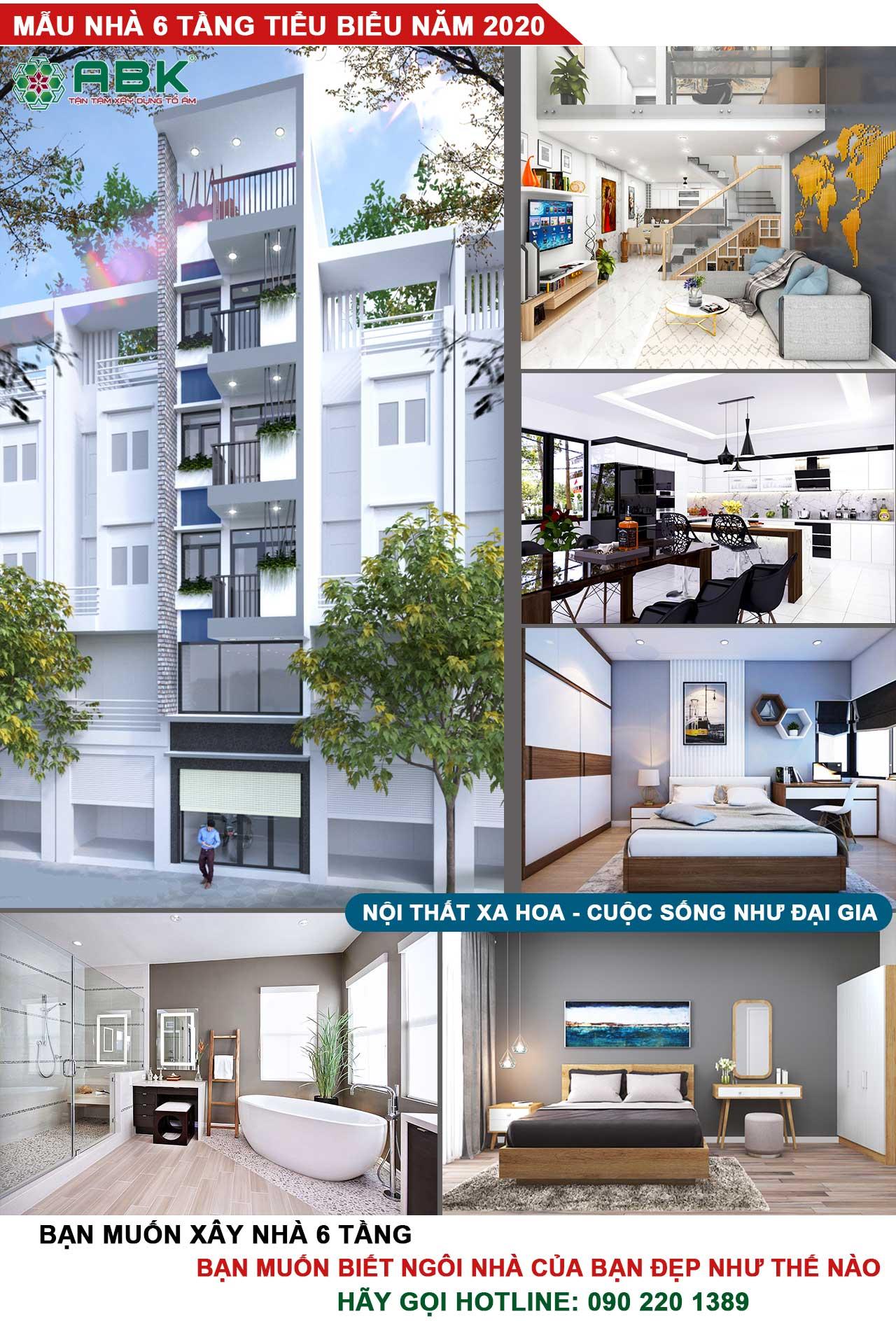 Giá xây dựng nhà 6 tầng 50m2