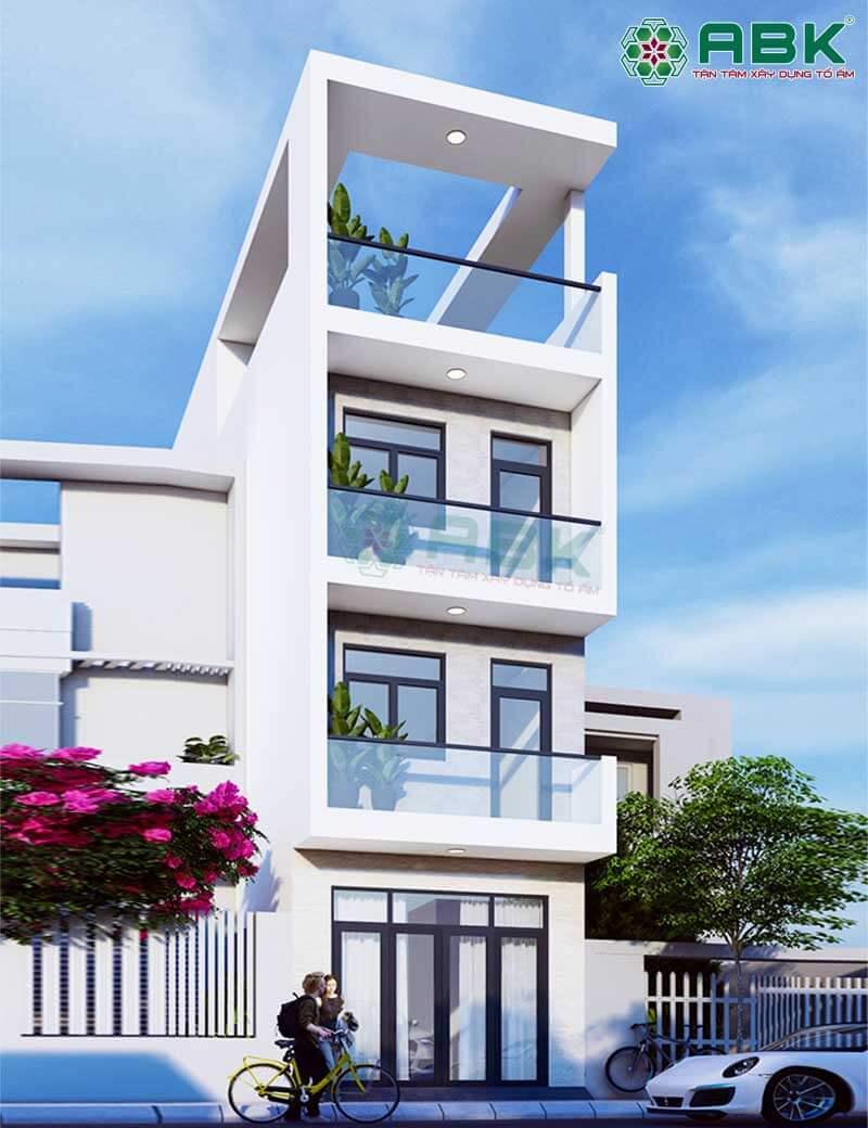 Mẫu thiết kế nhà phố 4 tầng hiện đại MS3