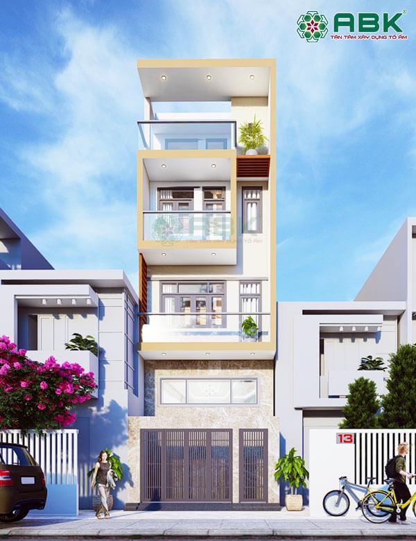 Mẫu thiết kế nhà phố 4 tầng + 1 lửng MS27