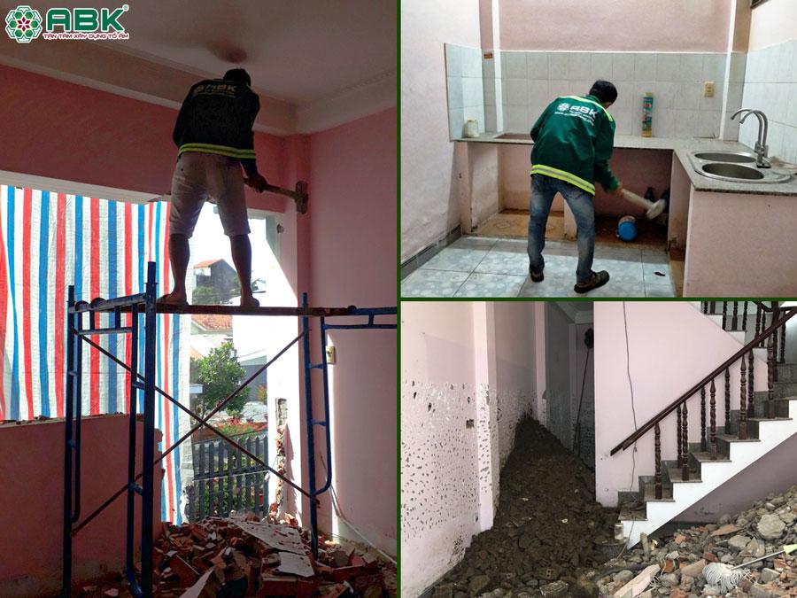 Thi công tháo dỡ nhà bếp tường nhà anh Hiền Quần Thủ Đức