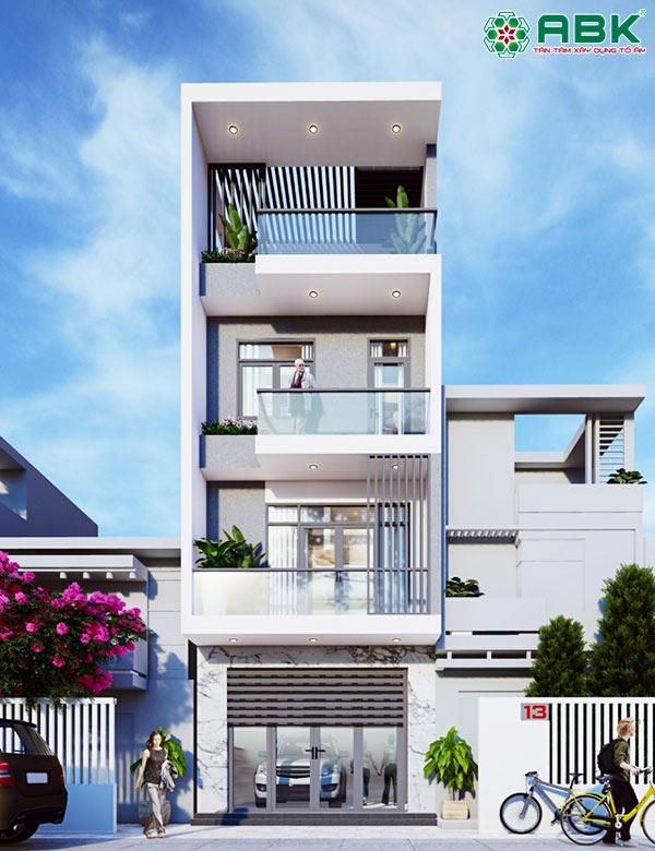 Mẫu thiết kế nhà phố 4 tầng, hiện đại M31