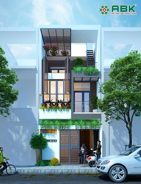 Mẫu thiết kế nhà phố 3 tầng 4,5 x 14,5m – MS34