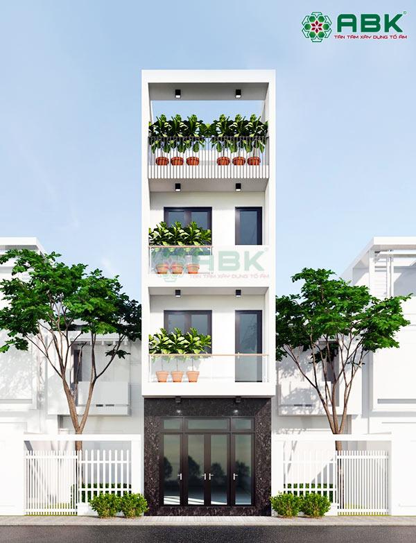 Mẫu thiết kế nhà phố 4 tầng hiện đại – MS37
