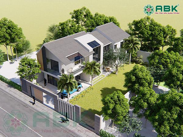 Mẫu thiết kế nhà biệt thự vườn 2 tầng hiện đại diện tích 8m x 24m