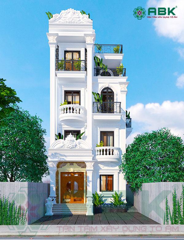 Mẫu thiết kế nhà phố 5 tầng kiến trúc tân cổ điển MS41