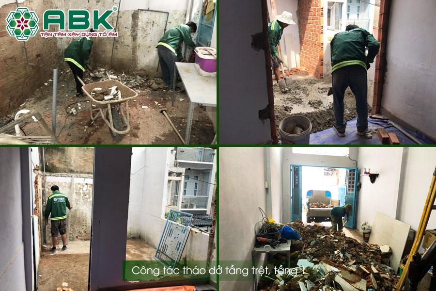 Công tác tháo dỡ nhà anh Lâm Quận Tân Bình