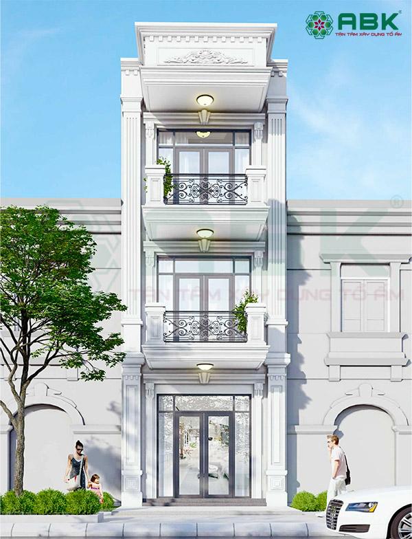Mẫu thiết kế nhà phố 3 tầng kiến trúc cổ điển MS40