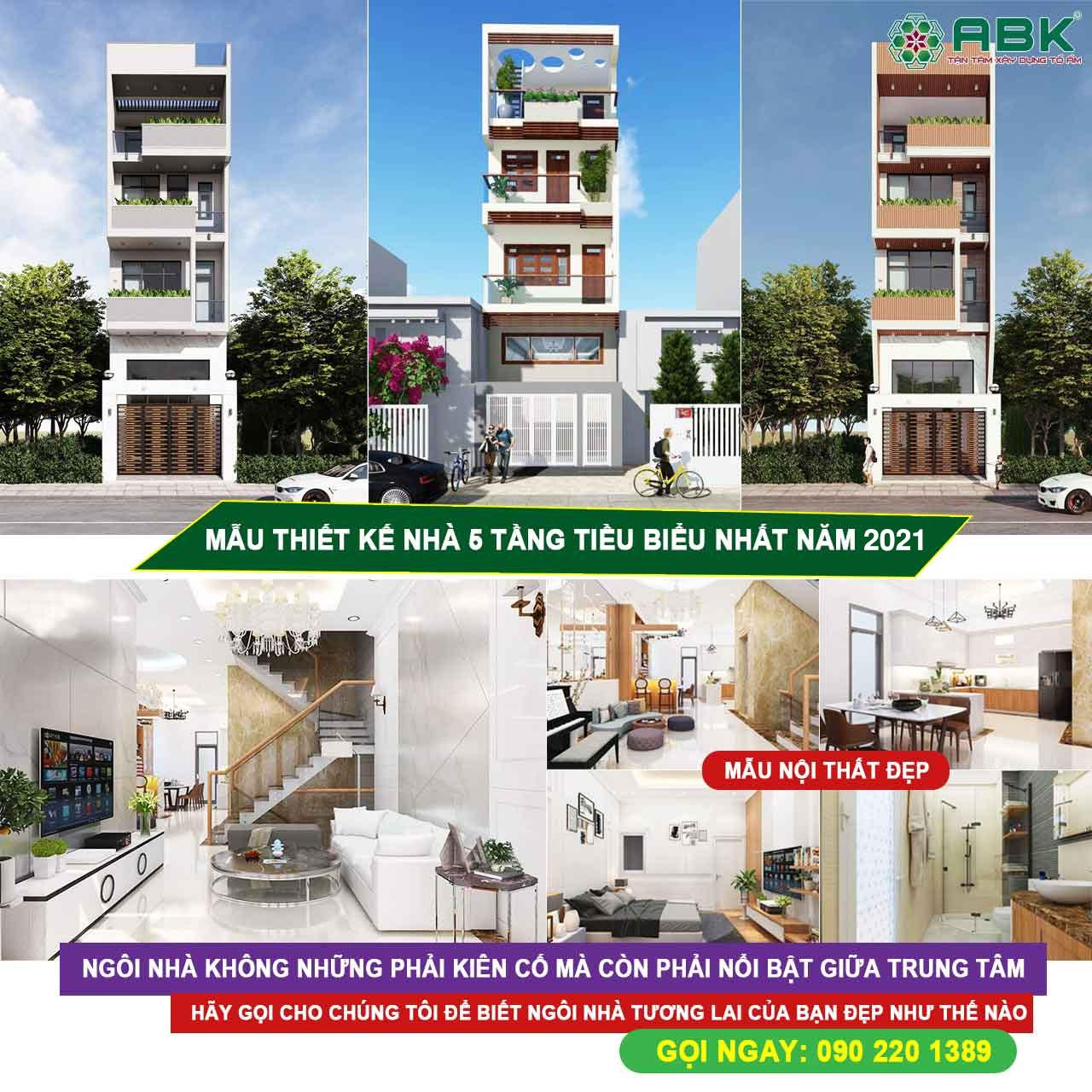 Xây dựng nhà trọn gói 5 tầng 90m2