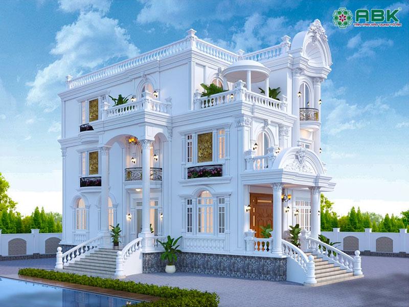 Mẫu thiết kế nhà biệt thự 3 tầng cổ điển – MS02