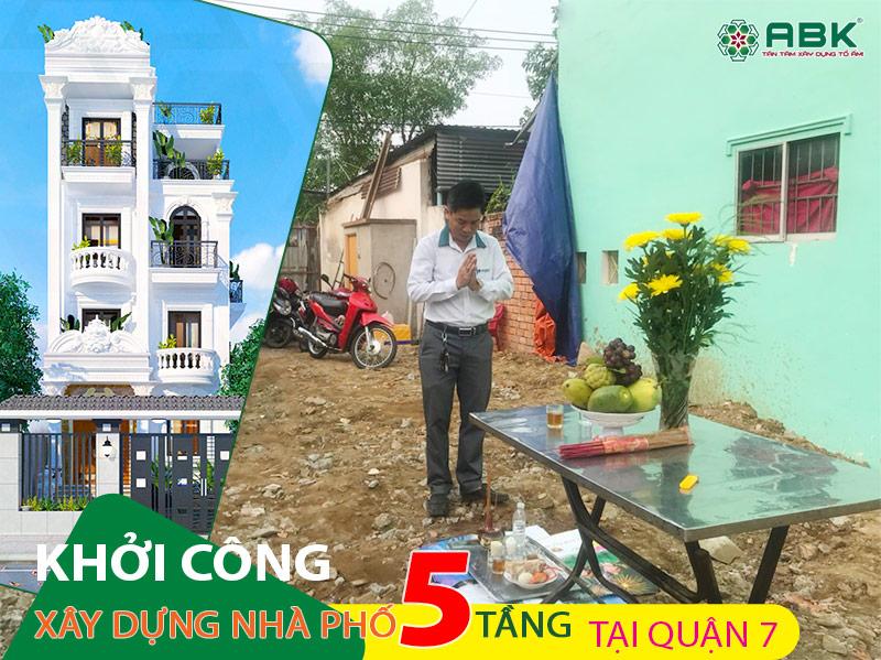 Khởi công xây dựng nhà phố 5 tầng tại quận 7 – Gia đình Anh Vũ