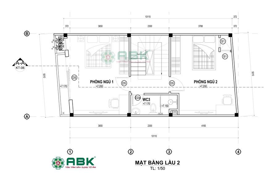 Bố trí mặt bằng lầu 2 nhà 3 tầng 50m2