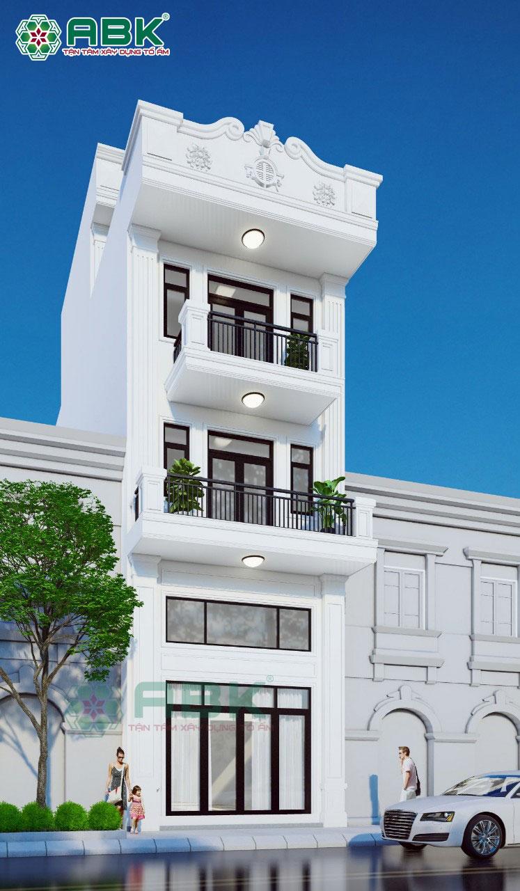 Hình ảnh thiết kế nhà phố 1 trệt 1 lửng 2 lầu sân thượng nhà chị Thảo