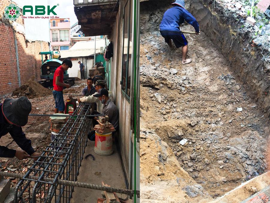 Thi công đào móng nhà anh Dũng Quận Tân Phú