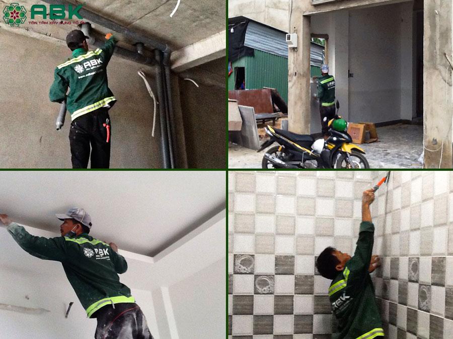 Thi công hệ thống điện nước, sơn tường nhà, ốp lát gạch nhà chị Dung