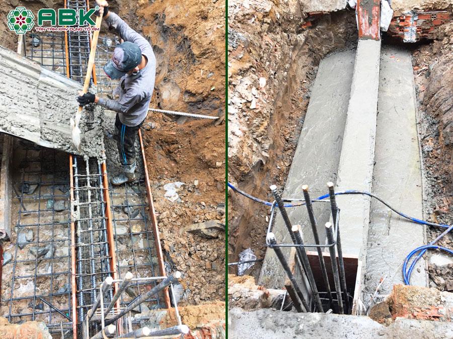 Thi công xây móng nhà anh Dũng Quận Tân Phú