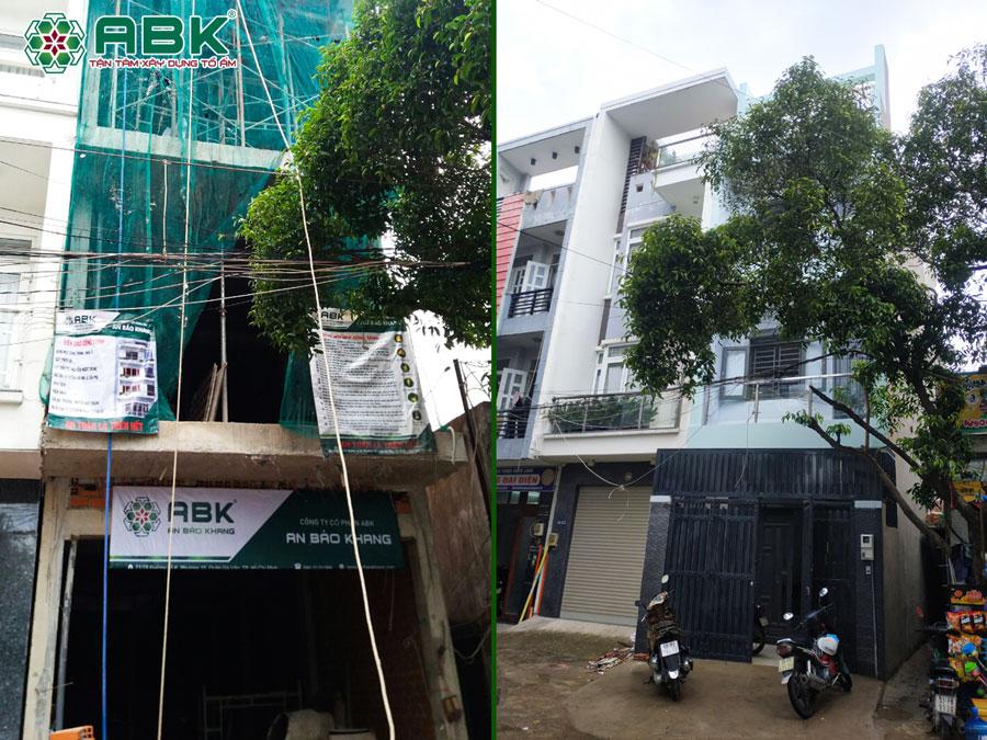 Xây nhà 1 trệt 2 lầu 1 tum nhà anh Dũng ở Quận Tân Phú